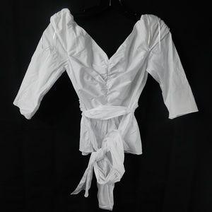 ZARA White Vneck Waist Tie Crop Top Medium